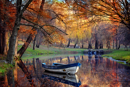 Boat on the lake in the autumnal forest