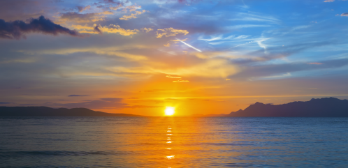 Sunset in Makarska,Adriatic riviera in Croatia