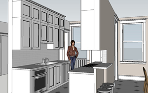 Architect's drawing of the proposed Kitchen