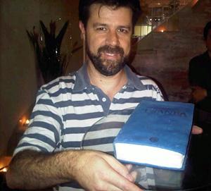 Carlos Leite de Silva's birthday cake in the shape of The Urantia Book