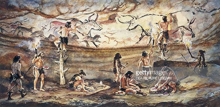 Scene depicting Cro Magnon painters of Lascaux Cave