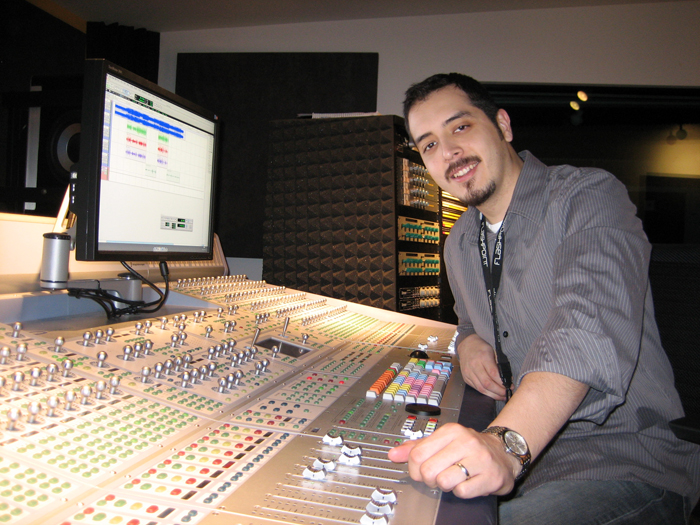 Dan Macias in the recording studio