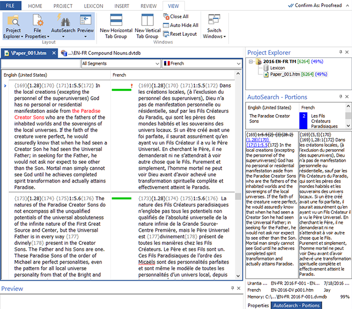 Déjà Vu translation software program screenshot