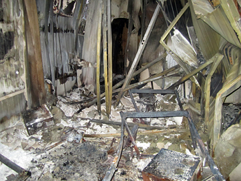 Aftermath of the fire in the Russian Urantia Book (Книга Урантии) warehouse