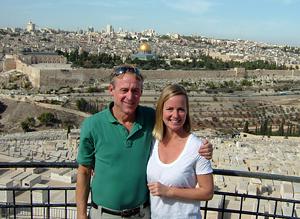 Mo and Jen Siegel outside Jerusalem