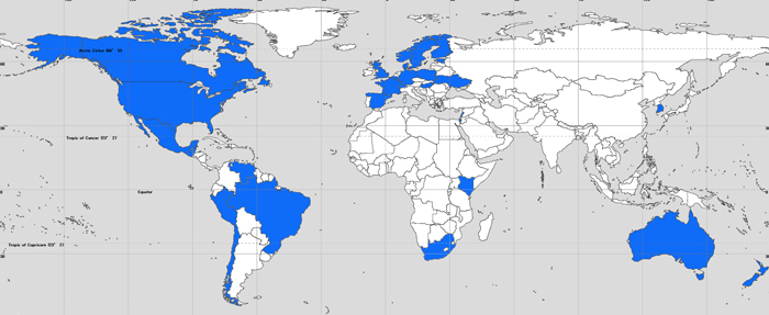 Countries that have registered in the Urantia Book Study Group Directory