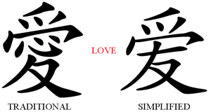 Difference between Traditional and Simplified Chinese characters