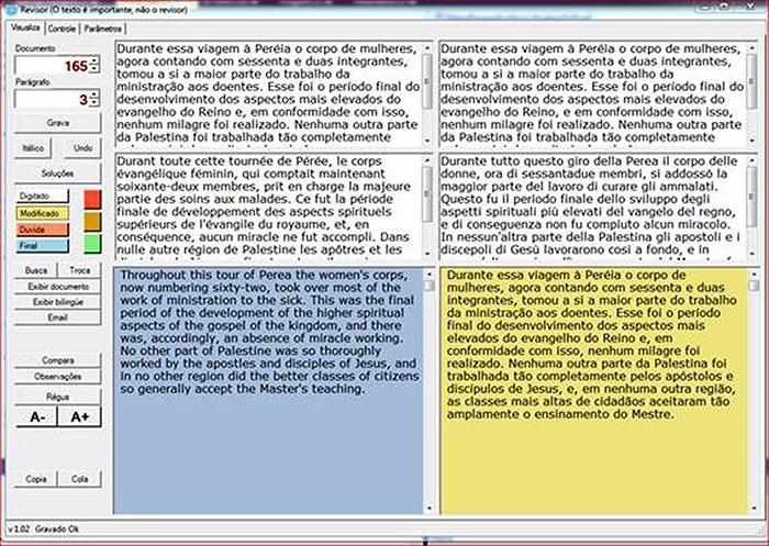Una visione dello schermo del primo strumento di database bilingue.