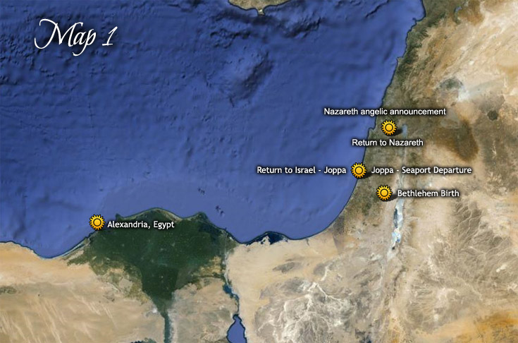 birthplace  u0026 flight route of baby jesus