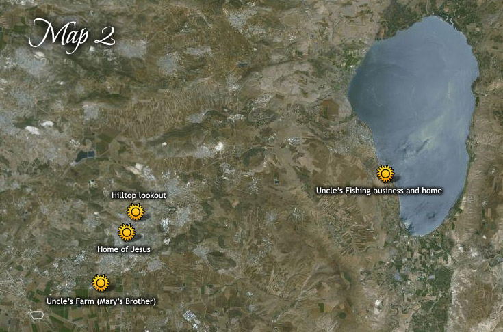 Childhood of Jesus - Locations of places visited