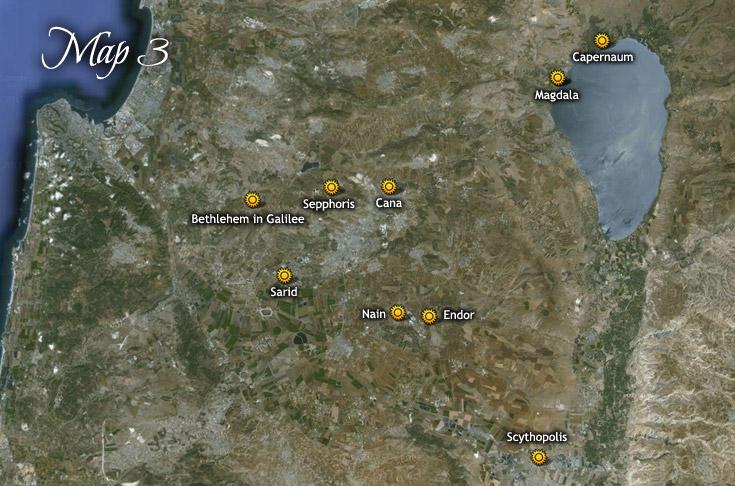 A gyermek Jézus által meglátogatott városok és falvak Galilea vidékén