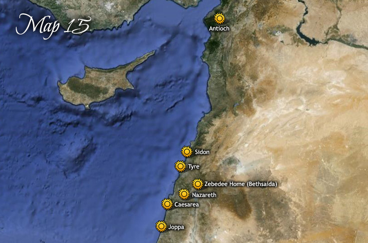 Travels of Jesus to Syria and Mediterranian Coast – Map Of Jesus Travels
