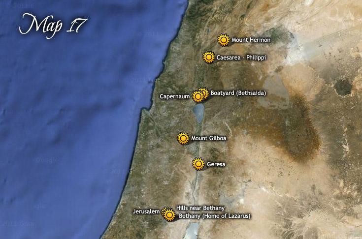 Utazásai a Hermon-hegytől Jeruzsálembe, és vissza Galileába