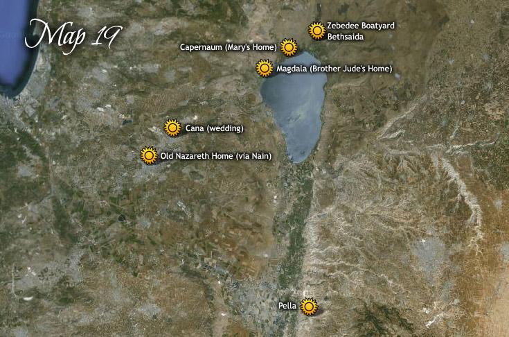 Utazása Pellából Názáreten át Betszaidába és Kánába