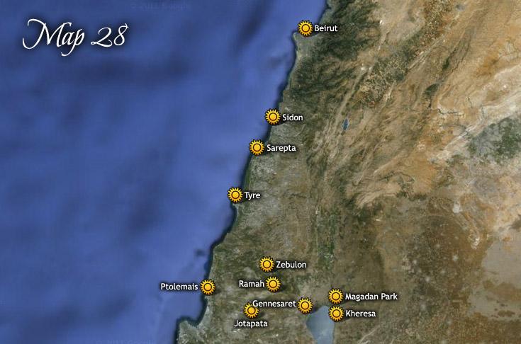 carte de Tyr, Sidon et Sarepta