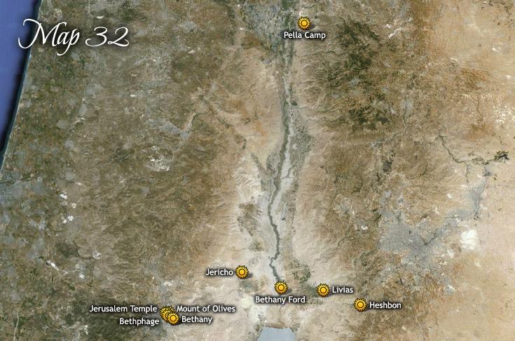 Desmantelamiento del campamento de Pella, viaje a Perea y al templo de Jerusalén