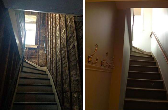 Лестница в квартиру гаражного домика